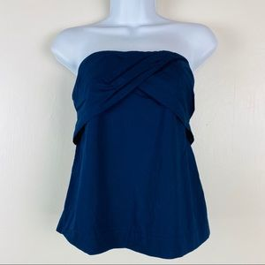 J Crew Tube Top Ruched Womens Size 2 Navy Straples